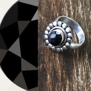 Black Onyx Sterling Silver Ring Size 7
